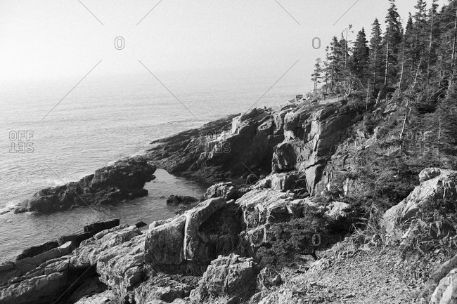 Rugged rocky coastline of Acadia National Park in Maine
