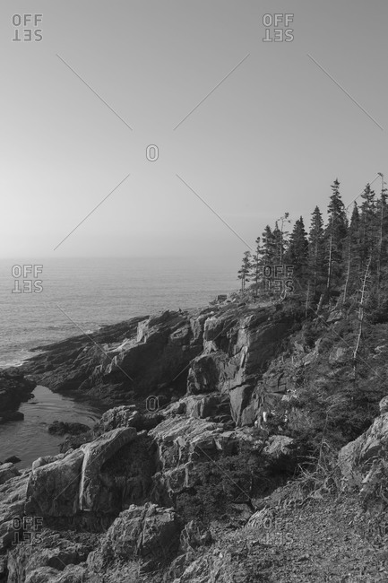 Rugged rocky coast of Acadia National Park in Maine