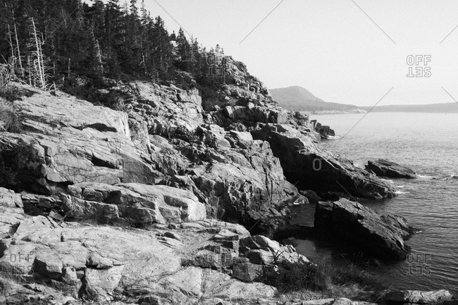 View of jagged coastline of Acadia National Park in Maine