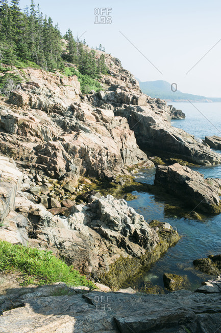 Jagged coastline of Acadia National Park in Maine