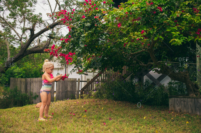 Young girl in a swimsuit picking blossoms off a tree