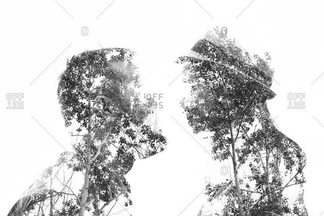 Photomontage of a couple and trees