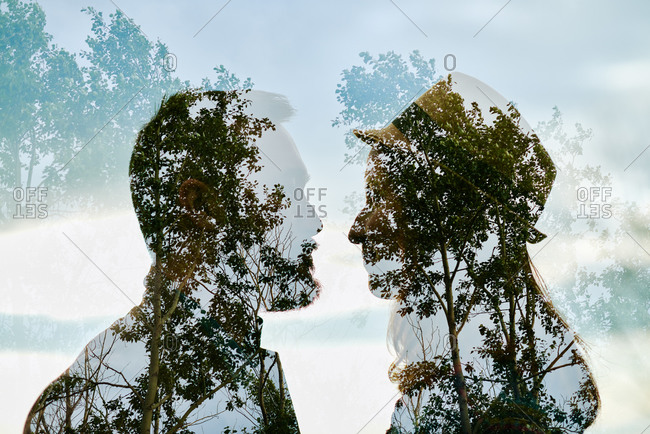 Photomontage of trees and a couple