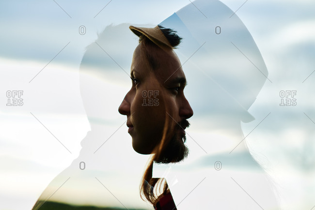 Double exposure of a man and woman