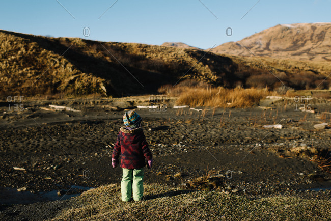 Back view of young girl gazing at mountain landscape