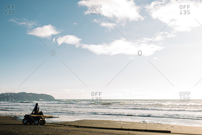Man on ATV with children towing a log on beach