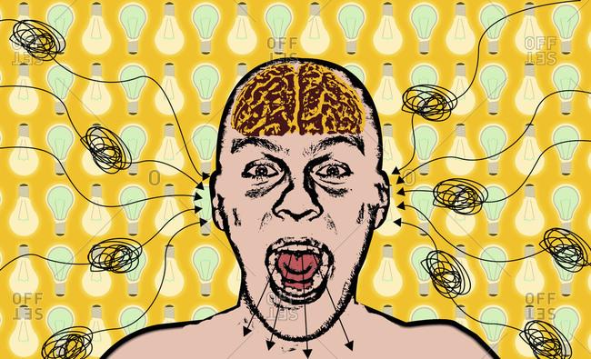 Man processing tangled information