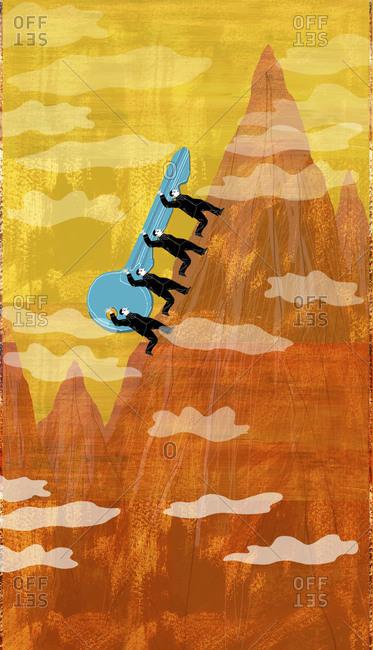 Four men carry key up mountain