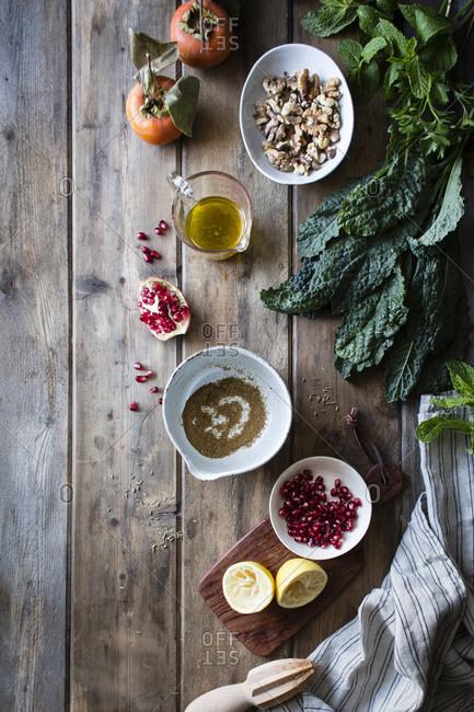 Kale salad ingredients