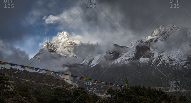 View of Ama Dablam with prayer flags