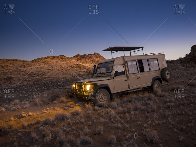 Namibia - March 13, 2015: Landrover in Kulala Wilderness Reserve