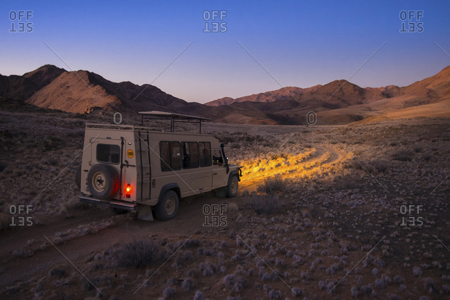 Namibia - March 13, 2015: Landrover on the road in Kulala Wilderness Reserve