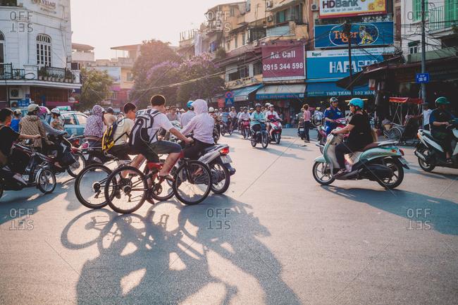 Hanoi, Vietnam - May 14, 2013: Rush hour in Hanoi, Vietnam