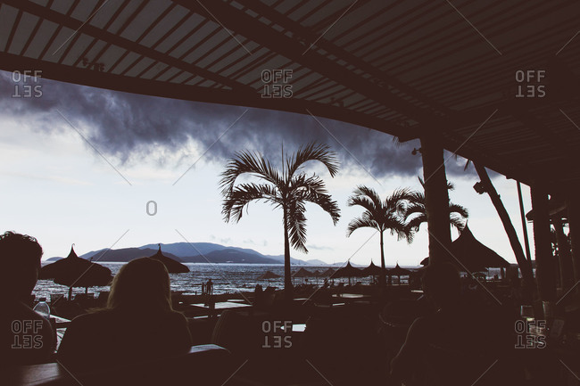 Storm seen brewing off the coast of Vietnam from a cafe