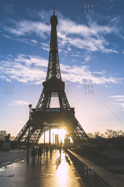 Sunrise behind the Eiffel Tower in Paris, France