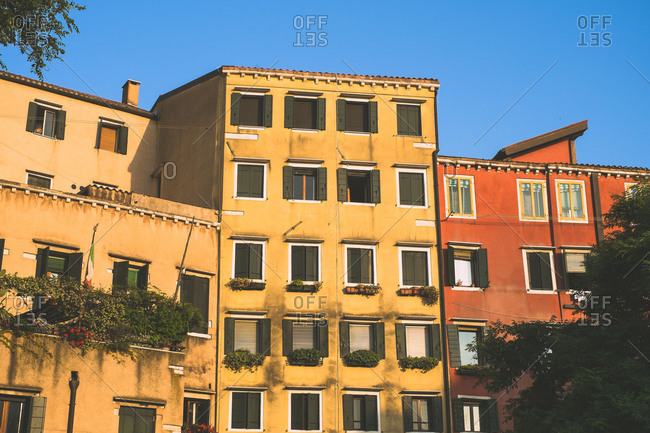Buildings in the evening sunshine in Venice, Italy