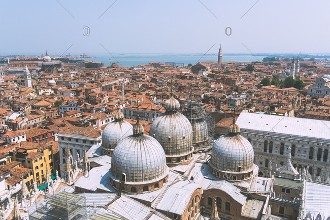 View of Venice, Italy from the bell tower in St Marks Square