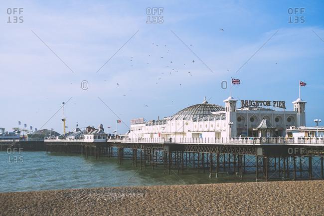 Brighton pier over the water in Brighton, England