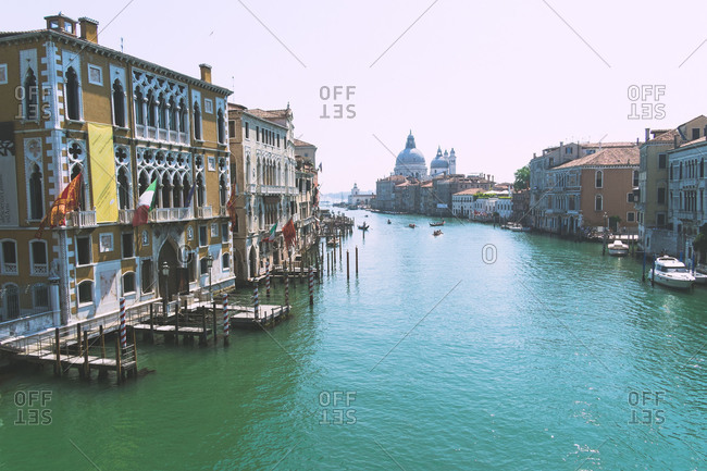 View from a bridge overlooking the Grand Canal in Venice, Italy