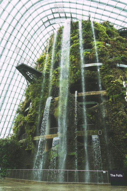 Singapore - August 14, 2014: Cloud Mountain conservatory at the Gardens by the Bay in Singapore
