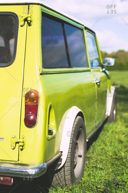 Lime green van in the English countryside