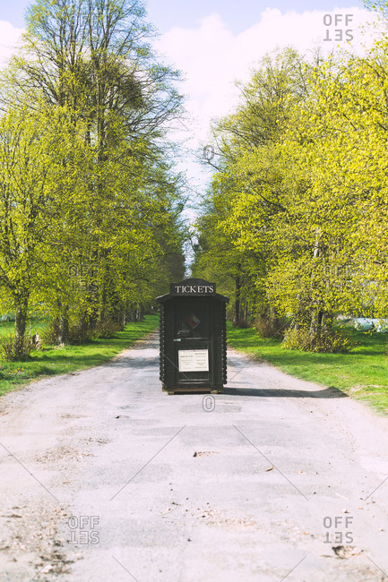 Small ticket hut on the driveway to Kentwell Hall in Suffolk, England