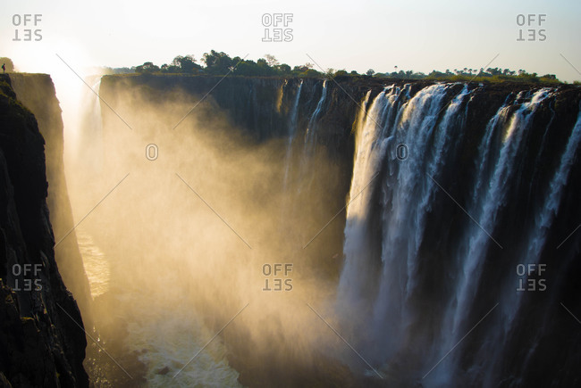 Misty Victoria Falls in Zimbabwe