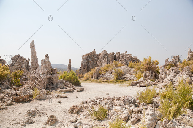 Hiking trail through desert rock formations