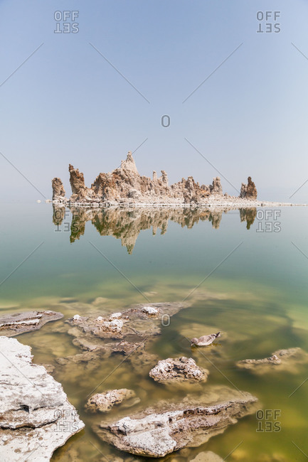 Rock formations in the middle of a lake