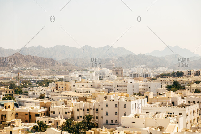Overview of the desert city of Muscat in Oman