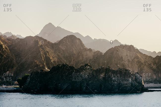 Rock formations along coast in Muscat, Oman