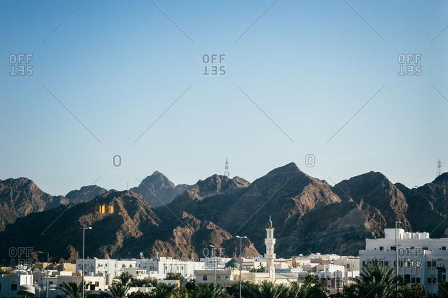 Muscat, Oman and mountainous landscape