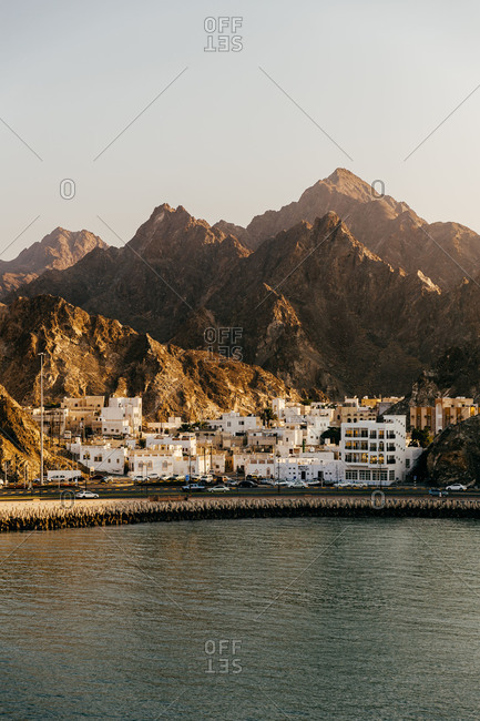 View of Muscat, Oman and rugged coastline