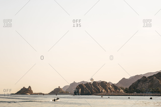 Riyam Monument and coast of Muttrah, Muscat, Oman,