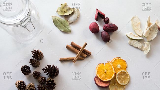 Overhead view of supplies to make fragrant seasonal potpourri