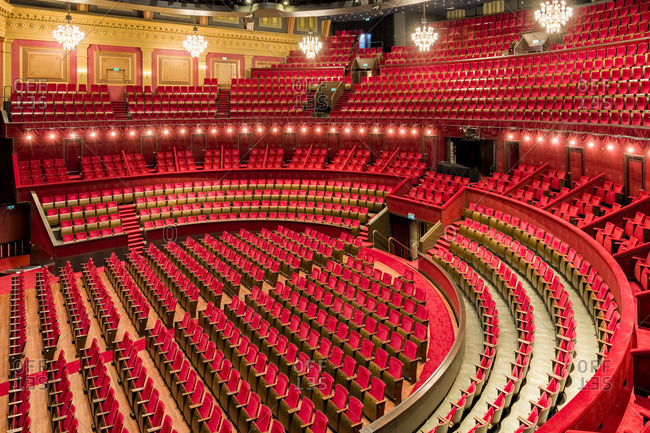 Amsterdam, Netherlands - November 26, 2015: View of the auditorium of the Royal Theater Carre in Amsterdam, Netherlands