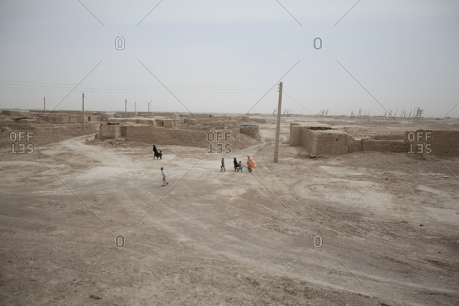 Zabol, Iran - May 2, 2014: Wide view of a village in south Iran