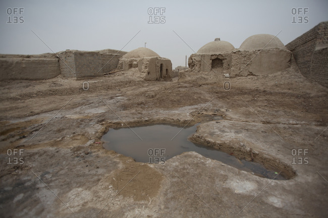 Houses in a village in south Iran desert