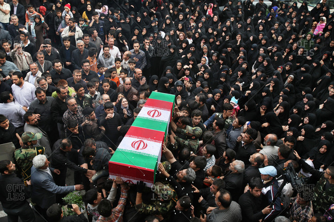 Tehran, Iran - April 10, 2013: Elevated view of a funeral of Iranian martyrs in Iran