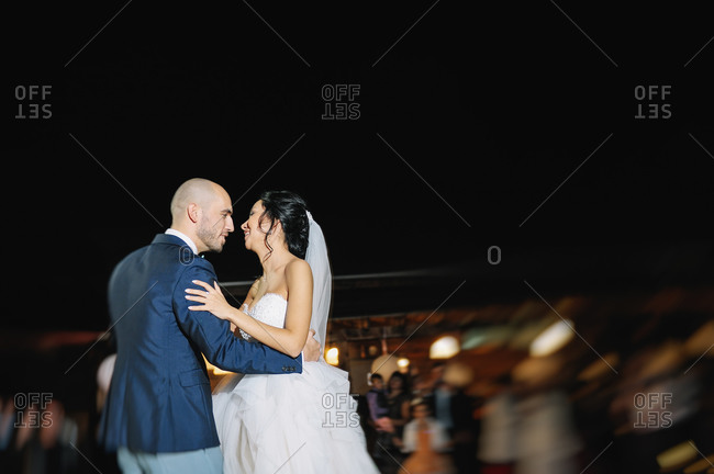 Couple dancing on their wedding night