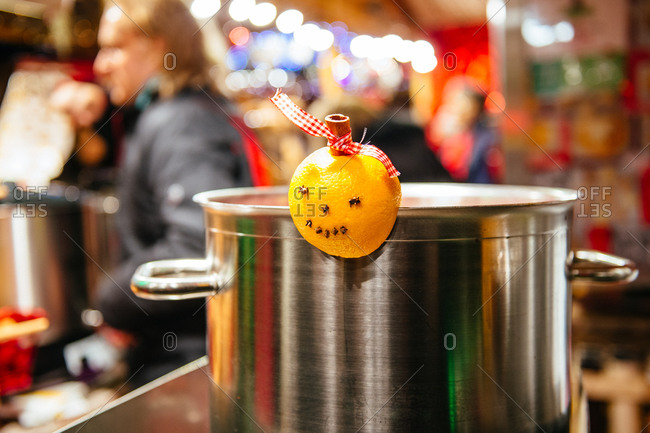 Traditional mulled wine cooker at the Christmas market in Strasbourg, France