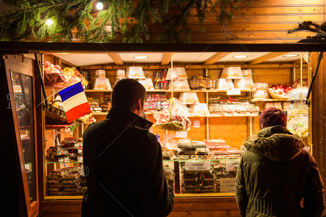 French Flag on a stall selling Christmas souvenirs at Strasbourg Christmas market