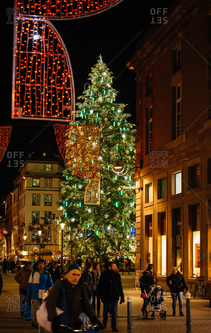 Strasbourg, France - November 28, 2015: Strasbourg Center Christmas tree in Place General Kleber