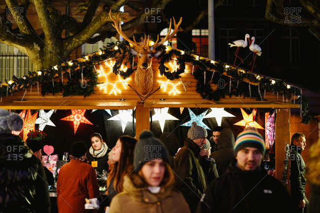 Strasbourg, France - November 28, 2015: Christmas stall selling traditional Christmas stars and toys