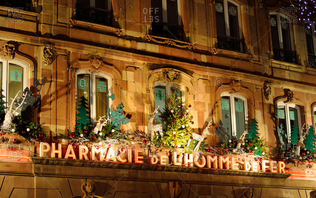 Strasbourg, France - November 28, 2015: Pharmacie de L'homme de Fer decorated for Christmas