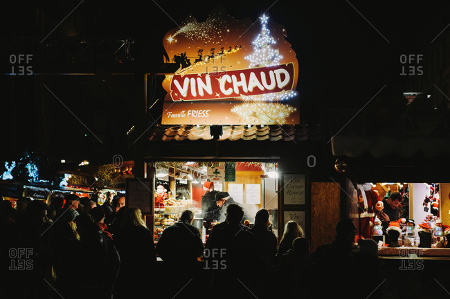 Strasbourg, France - December 12, 2014: Market stall selling mulled wine, vin chaud, at the Strasbourg Christmas market