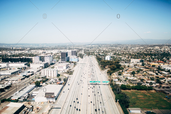 Aerial view of city and freeway