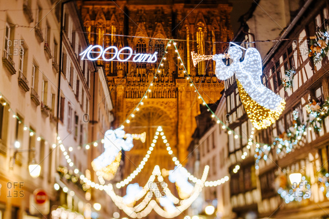 Lights at the Christmas market in Strasbourg, France