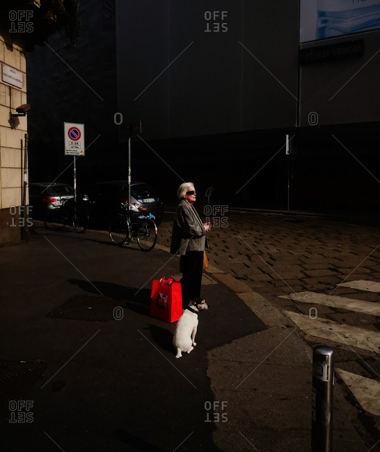 Milan, Italy - May 15, 2015: Older woman waiting to cross the street with her dog