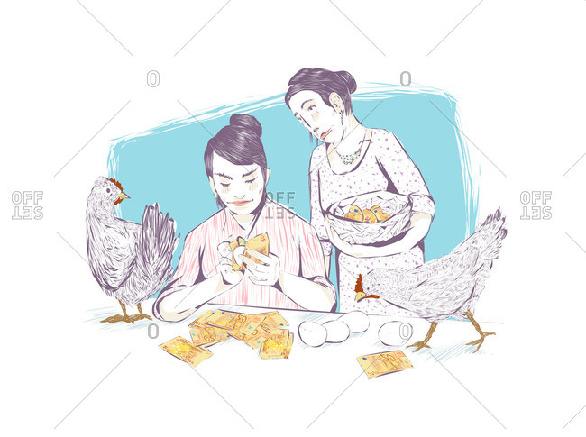 Women wrapping eggs with Euro